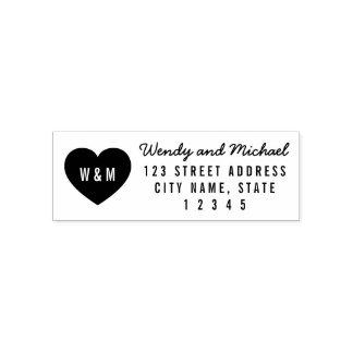 Modern Heart Monogram Couple Return Address Self-inking Stamp