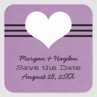 Modern Heart Save the Date Stickers, Purple Square Sticker