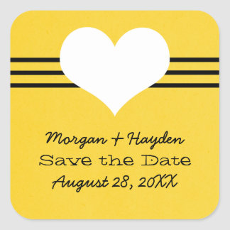 Modern Heart Save the Date Stickers, Yellow Square Sticker