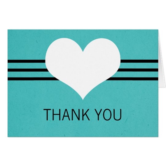 Modern Heart Thank You Card, Aqua Card