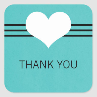 Modern Heart Thank You Stickers, Aqua Square Sticker