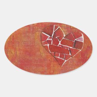 Modern Heart Valentine's Collage Oval Sticker