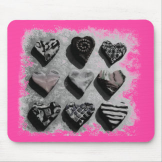 Modern Hearts Black, White, and Gray For Teen Girl Mouse Pad