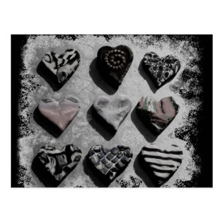 Modern Hearts Black, White, and Gray For Teen Girl Postcard