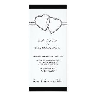 Modern Hearts Black & White Wedding Invitations