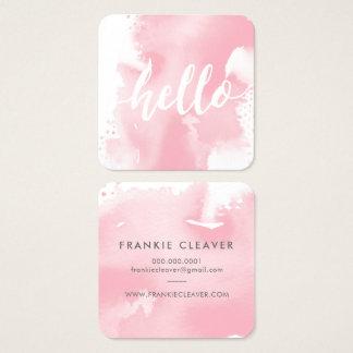 modern hello script arty watercolor blush pink square business card