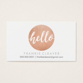 MODERN HELLO SCRIPT hand drawn bold spot rose gold Business Card