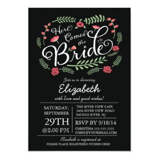 Modern Here Comes The Bride Floral 5x7 Paper Invitation Card