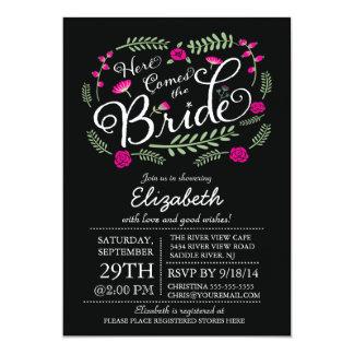 Modern Here Comes The Bride Fuchsia Floral 13 Cm X 18 Cm Invitation Card