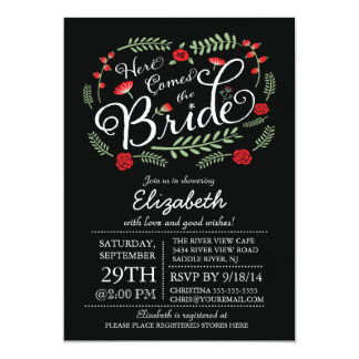 Modern Here Comes The Red Bride Floral 5x7 Paper Invitation Card