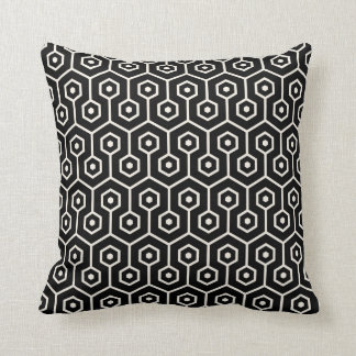 Modern Hexagon Honeycomb Pattern Black Cushion