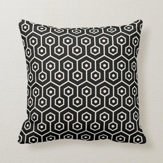 Modern Hexagon Honeycomb Pattern Black Cushion