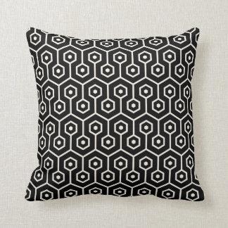 Modern Hexagon Honeycomb Pattern Black Throw Pillow