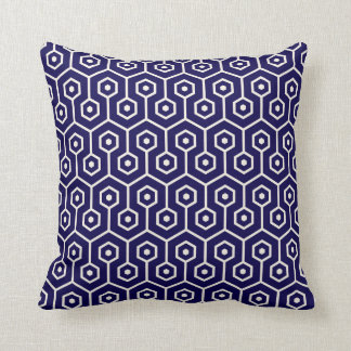 Modern Hexagon Honeycomb Pattern Cobalt Blue Cushion