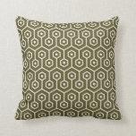 Modern Hexagon Honeycomb Pattern Olive Green Cushion