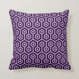 Modern Hexagon Honeycomb Pattern Purple Cushion