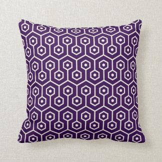 Modern Hexagon Honeycomb Pattern Purple Throw Pillow