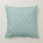 Modern Hexagon Honeycomb Pattern Sea Glass Blue Cushion