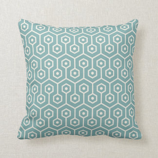 Modern Hexagon Honeycomb Pattern Sea Glass Blue Cushion