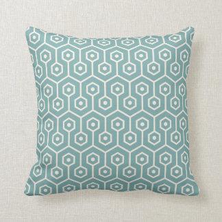 Modern Hexagon Honeycomb Pattern Sea Glass Blue Throw Pillow
