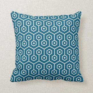Modern Hexagon Honeycomb Pattern Teal Blue Throw Pillow