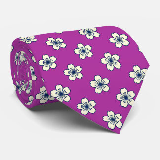 Modern Hibiscus Hawaiian Floral Radiant Orchid Tie