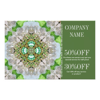 modern hip green diamond sparkles fashion girly 14 cm x 21.5 cm flyer