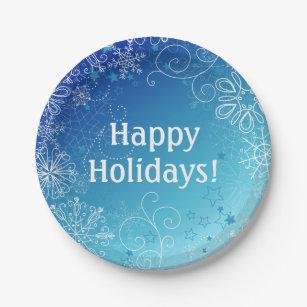 Modern Holiday Blue \u0026 White Snowflakes Paper Plate  sc 1 st  Zazzle & Snowflake Holiday Blue Kitchen Accessories \u0026 Supplies | Zazzle.co.uk