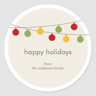 Modern Holiday Christmas Ornaments Gift Tag Round Sticker