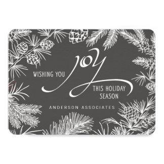 Modern Holiday Joy Botanical Winter Branches Card