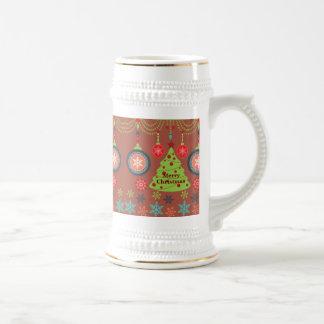 Modern Holiday Merry Christmas Tree Snowflakes Mug