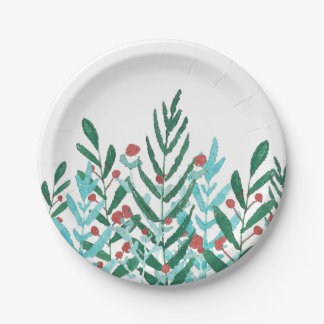 Modern holiday party decor, greenery + holly paper plate