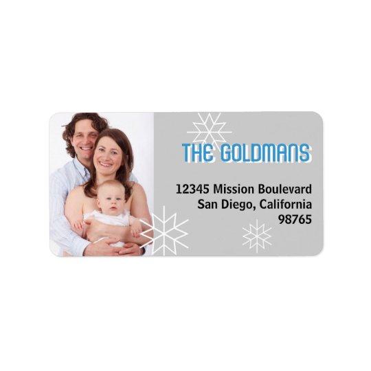 Modern holiday photo blue grey snowflake address address label