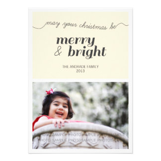 Modern Holiday Photo Merry and Bright Black Cream Announcements