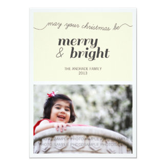 Modern Holiday Photo Merry and Bright Black Cream 5x7 Paper Invitation Card