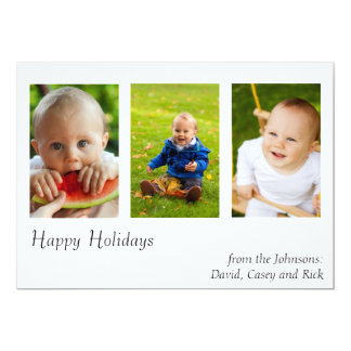 Modern Holiday Three Photos Card Horizontal 13 Cm X 18 Cm Invitation Card