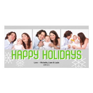 Modern holiday triptych green gray happy holiday personalized photo card