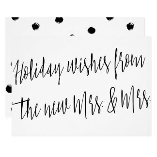 "Modern ""Holidays wishes from the new Mrs. & Mrs."" Card"