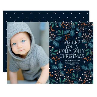 Modern Holly Jolly Photo Holiday Christmas Card