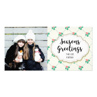 Modern Holly Seasons Greetings Picture Photo Card