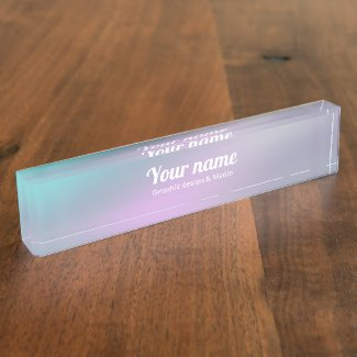 Modern Holographic rainbow design Name Plate