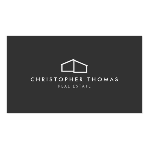 Modern Home Logo on Gray for Real Estate, Realtor Business Card Templates