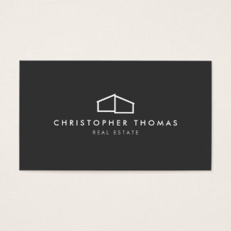 Modern Home Logo on Gray for Real Estate, Realtor Business Card