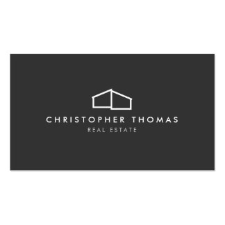 Modern Home Logo on Gray for Real Estate, Realtor Pack Of Standard Business Cards