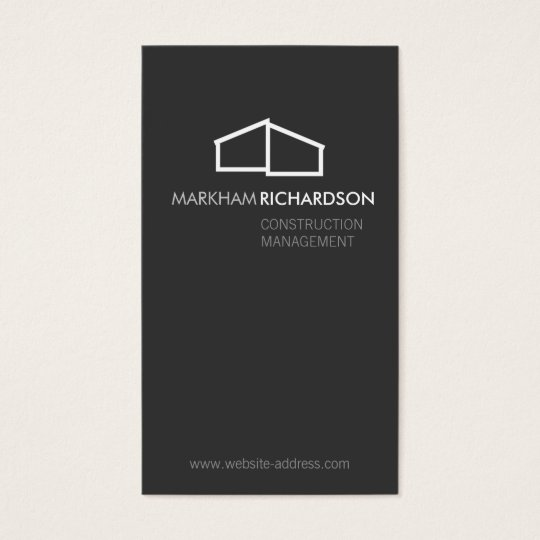 Modern Home Logo on Grey for Construction, Realtor Business Card