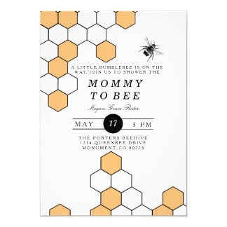 Modern Honeycomb | Bumblebee Baby Shower 13 Cm X 18 Cm Invitation Card