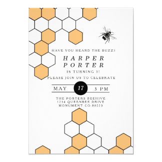 Modern Honeycomb | Bumblebee Birthday Party 13 Cm X 18 Cm Invitation Card