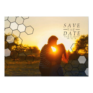 Modern Honeycomb Save The Date | Photo 13 Cm X 18 Cm Invitation Card