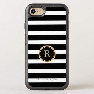 Modern Horizontal Black & White Stripes Monogram OtterBox Symmetry iPhone 7 Case
