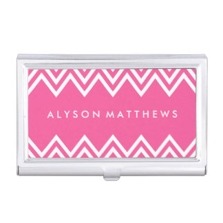 Modern Hot Pink and White Chevron Business Card Holder